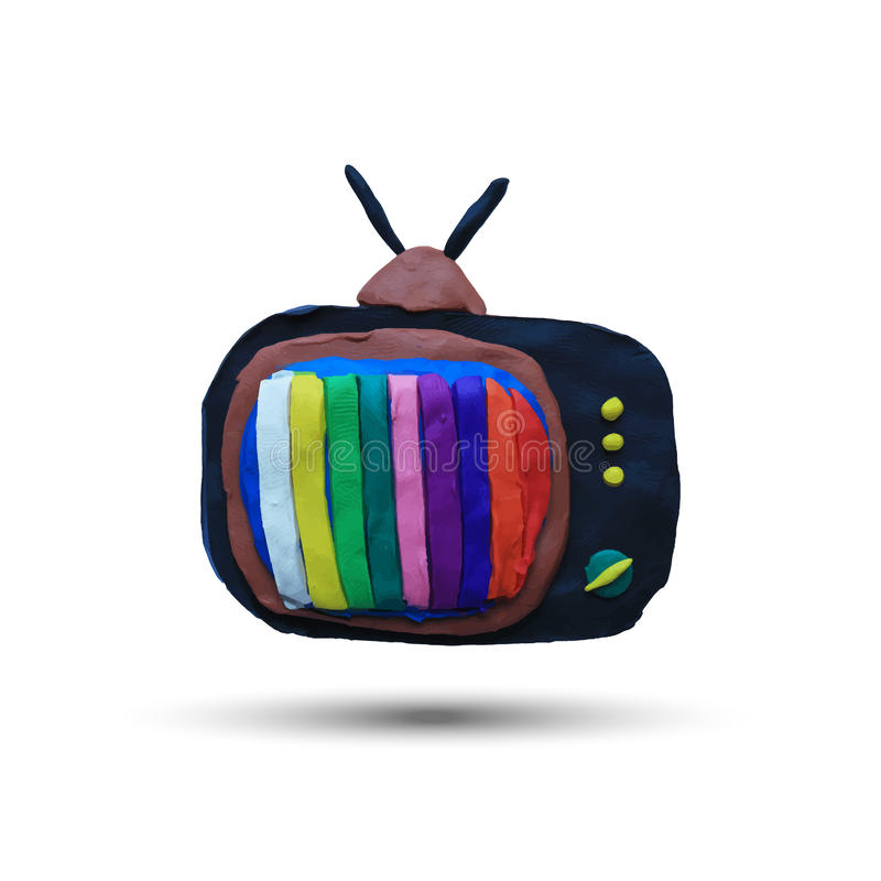 Retro tv set. With color lines. Vector illustration. Plasticine modeling vector illustration