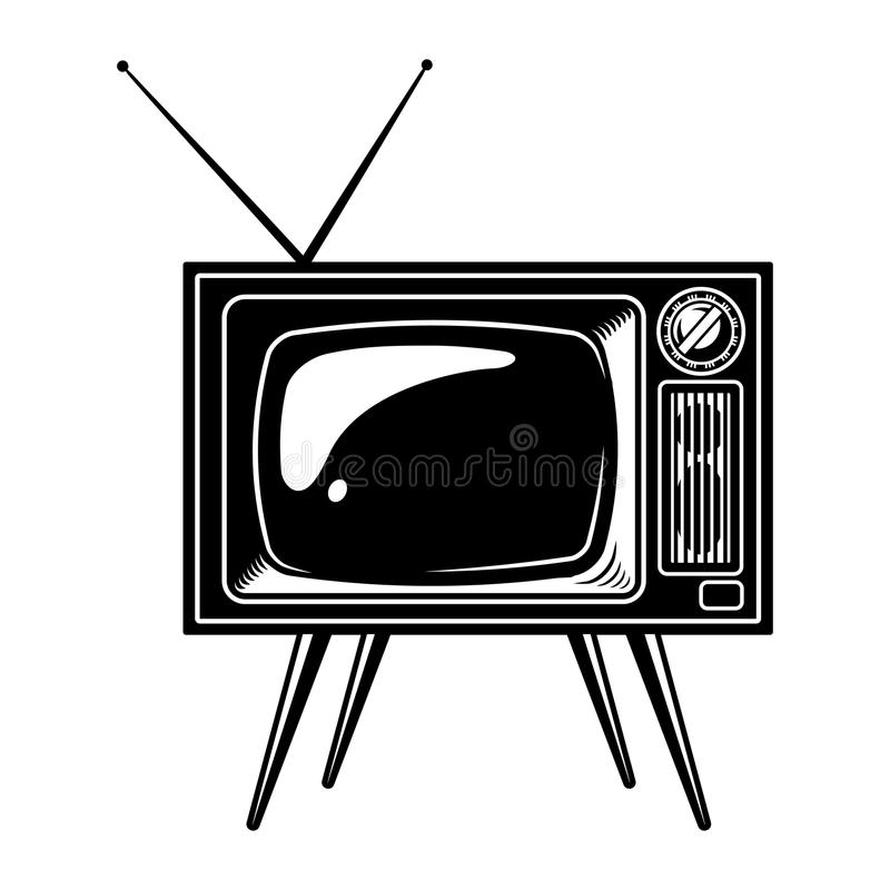 Retro TV set concept. With antenna in vintage monochrome style isolated vector illustration stock illustration