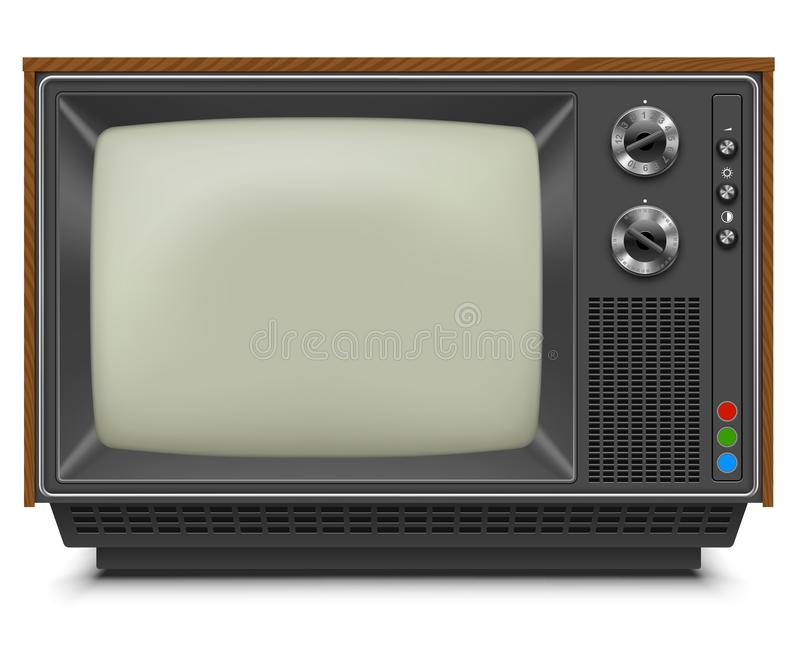 Retro TV-set Front View with Blank Screen vector illustration