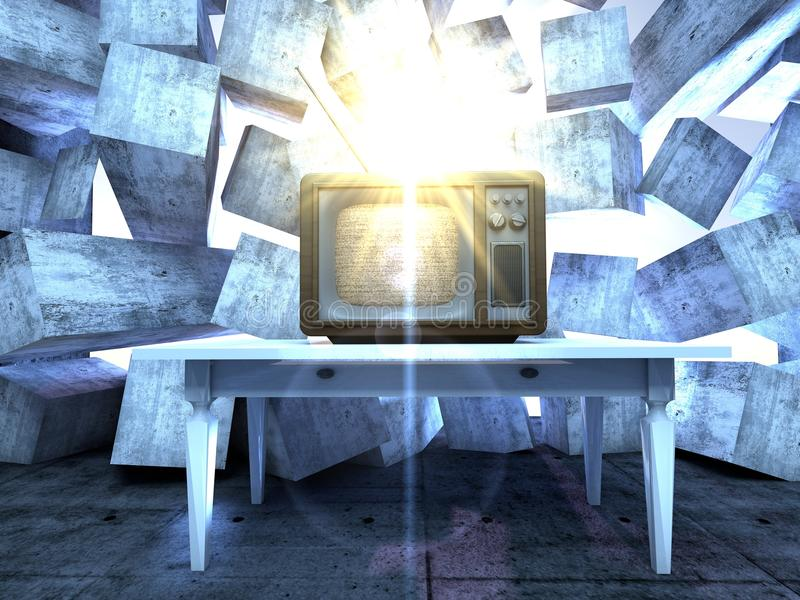 Retro TV set. A retro TV set in an grunge dark interior with light beams vector illustration