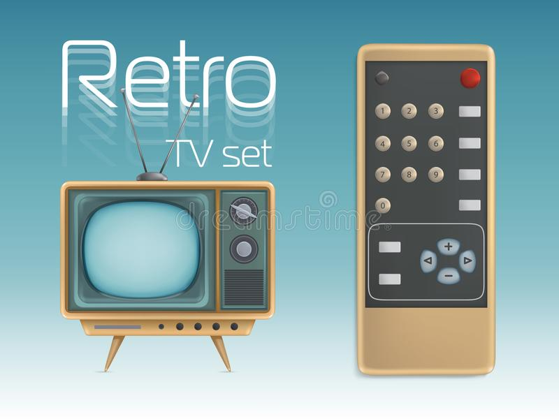 Retro TV set and remote control vector illustration for media broadcasting, news or entertainment poster. Retro TV set and remote control vector illustration royalty free illustration