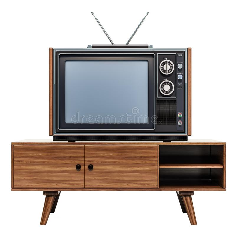 Retro TV set on the stand, 3D rendering stock illustration