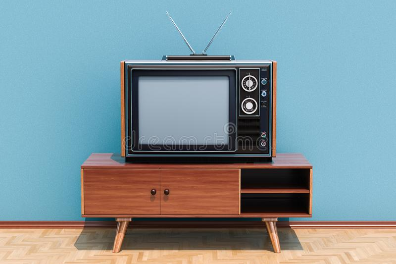Retro TV set on the stand in room on the wooden floor, 3D render. Retro TV set on the stand in room on the wooden floor, 3D stock illustration