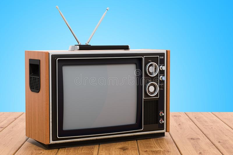 Retro TV set on the wooden table. 3D rendering royalty free illustration