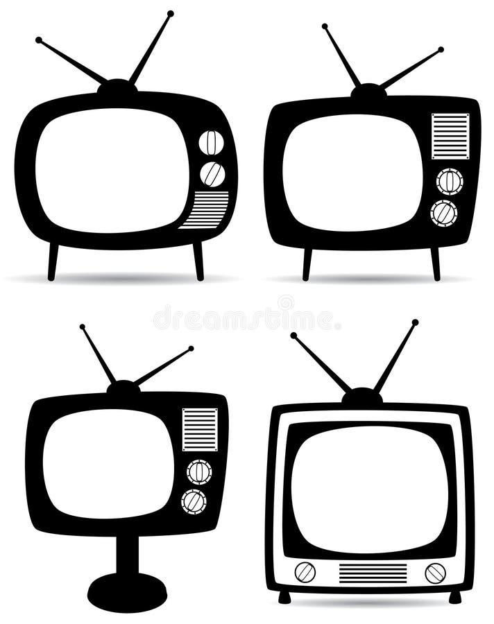 Retro tv sets. Illustration of four retro tv sets
