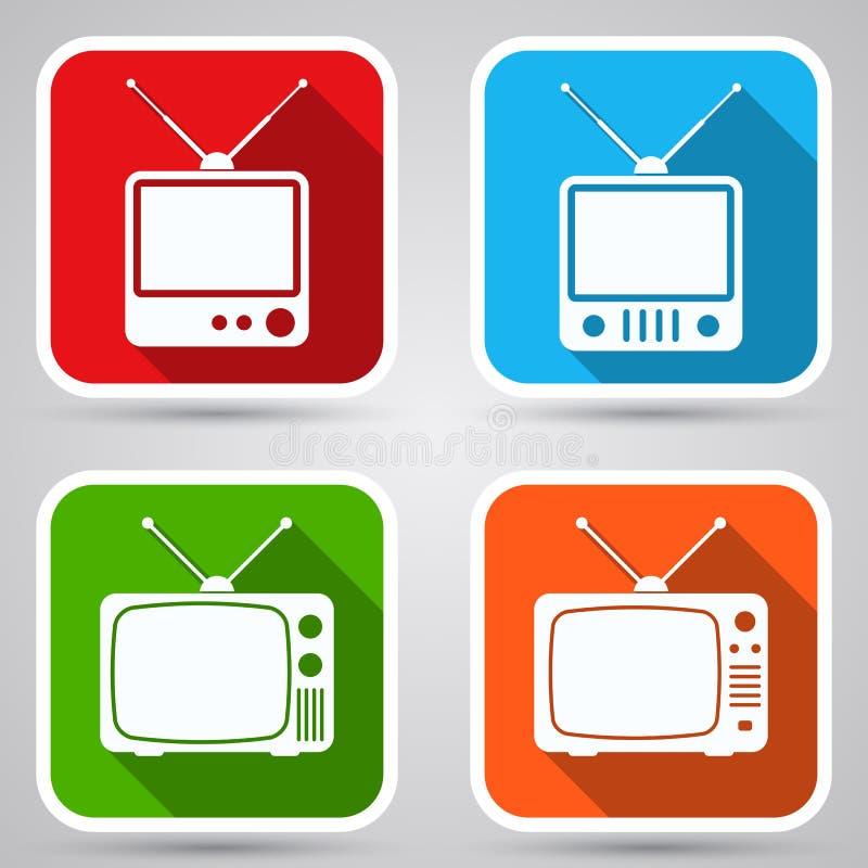 Retro TV sets flat icons vector illustration