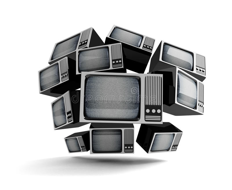 Retro TV with static. stock photography