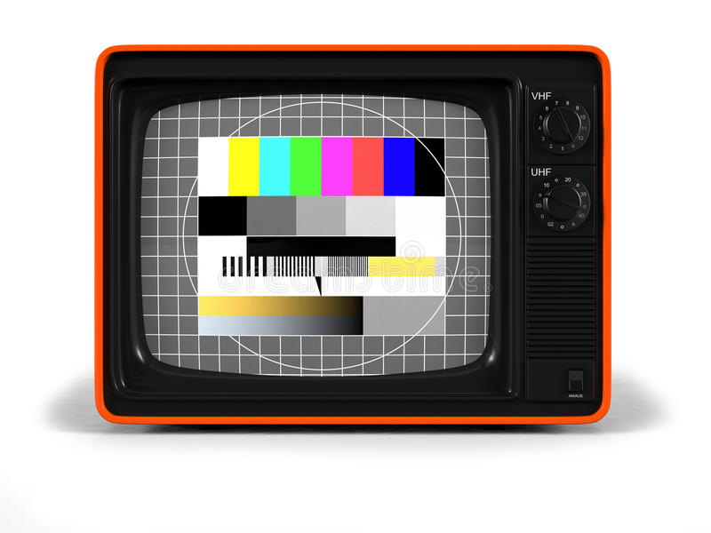 Retro TV test screen. Very high resolution 3D render of an old vintage TV of the seventies with test screen and orange plastic shell stock illustration