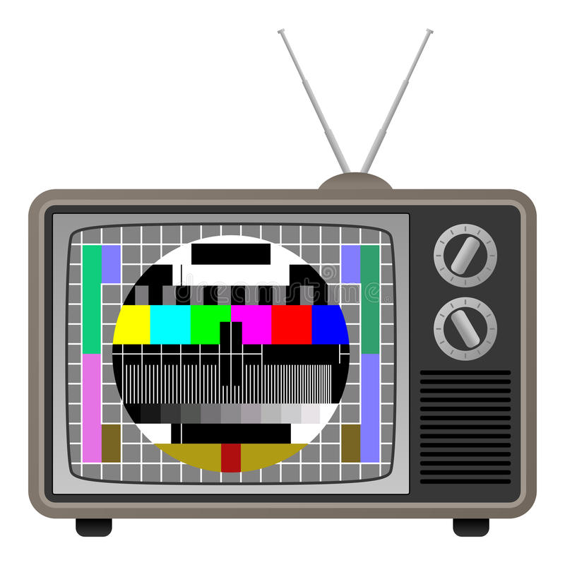 Download Retro TV with Test Screen stock vector. Illustration of display - 26410587