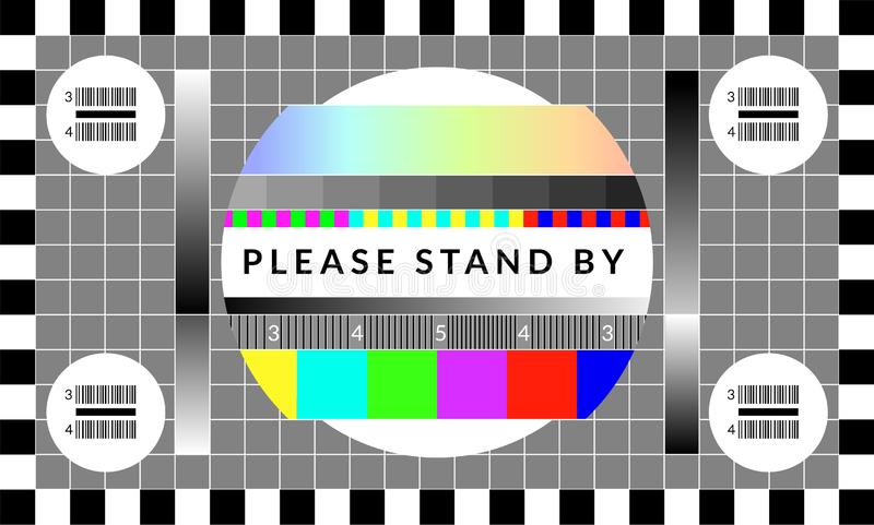 Retro tv test screen. Old calibration chip chart pattern vector illustration