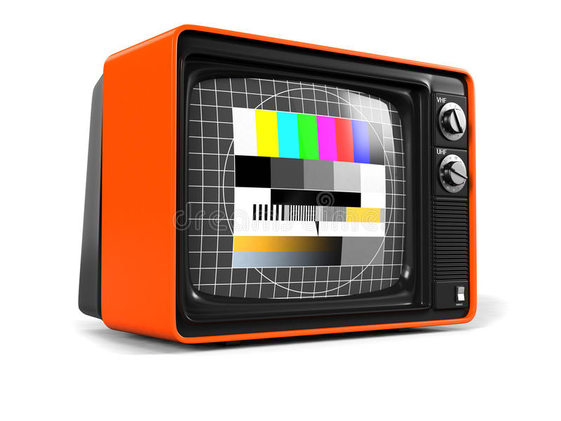 Retro TV test screen side. Very high resolution 3D render of an old vintage TV of the seventies with test screen and orange plastic shell stock illustration