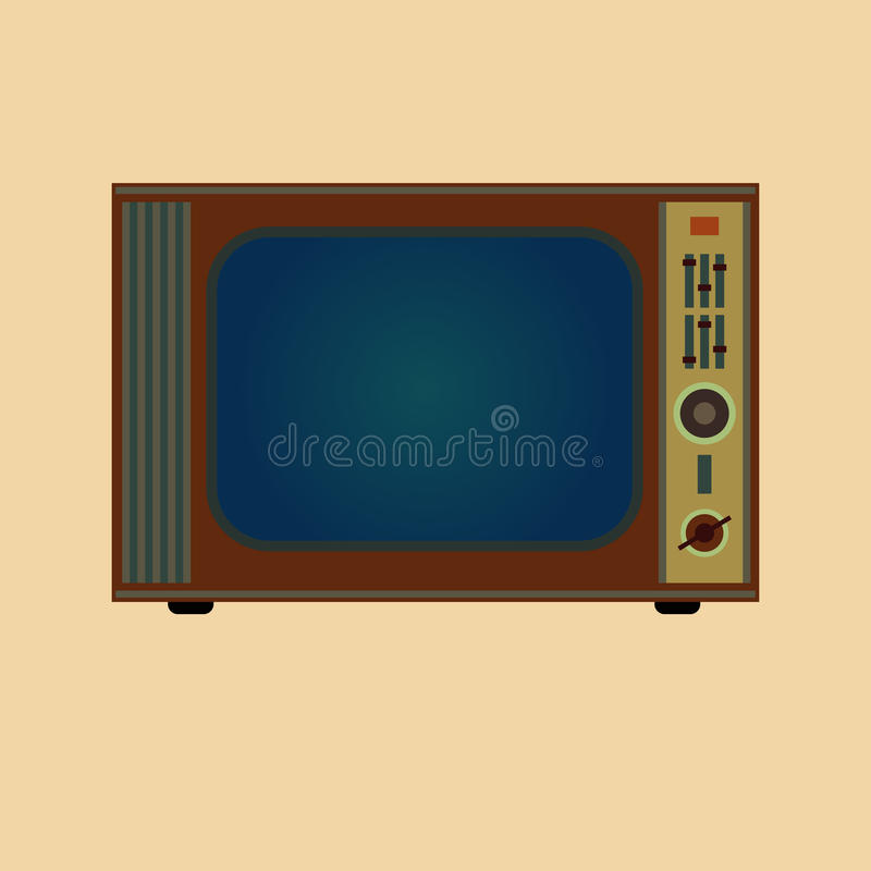 Retro TV. On yellow background royalty free illustration