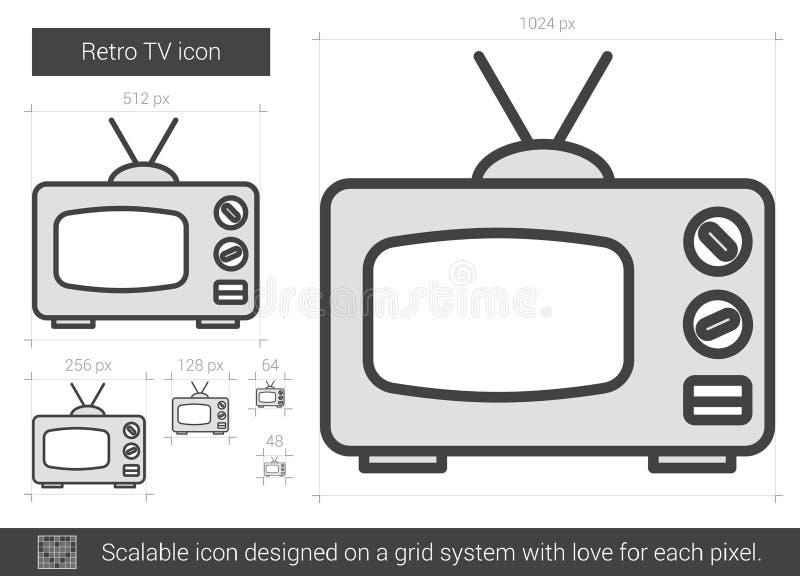 Retro TVlinje symbol royaltyfri illustrationer
