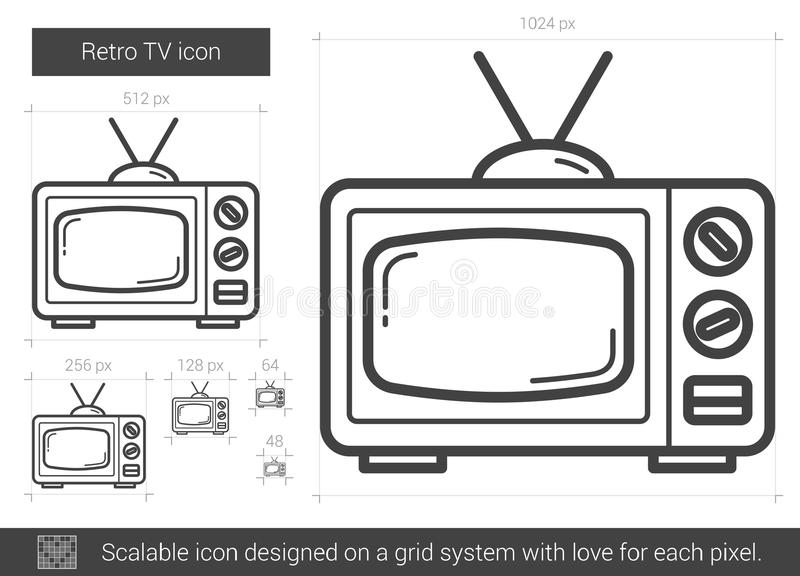 Retro TVlinje symbol stock illustrationer