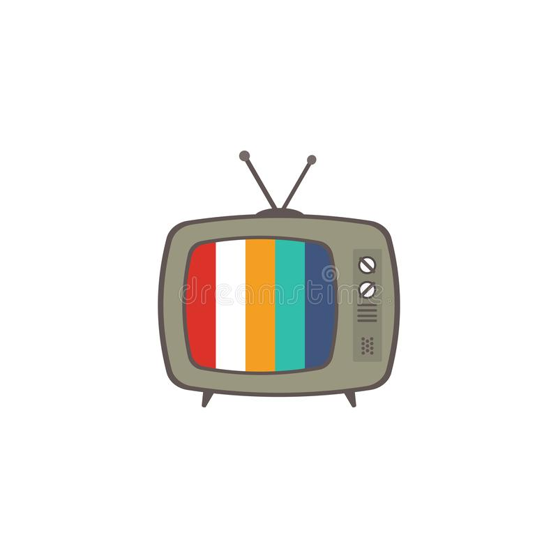Retro TVsymbol, vektorillustration Vit bakgrund 10 eps royaltyfri illustrationer