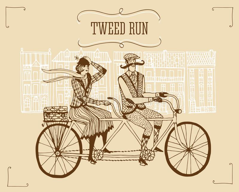 Retro tweed ride illustration. Retro hand drawn gentleman with mustaches and lady in tweed costumes on a tandem bicycle riding in old town.Illustration for tweed stock illustration