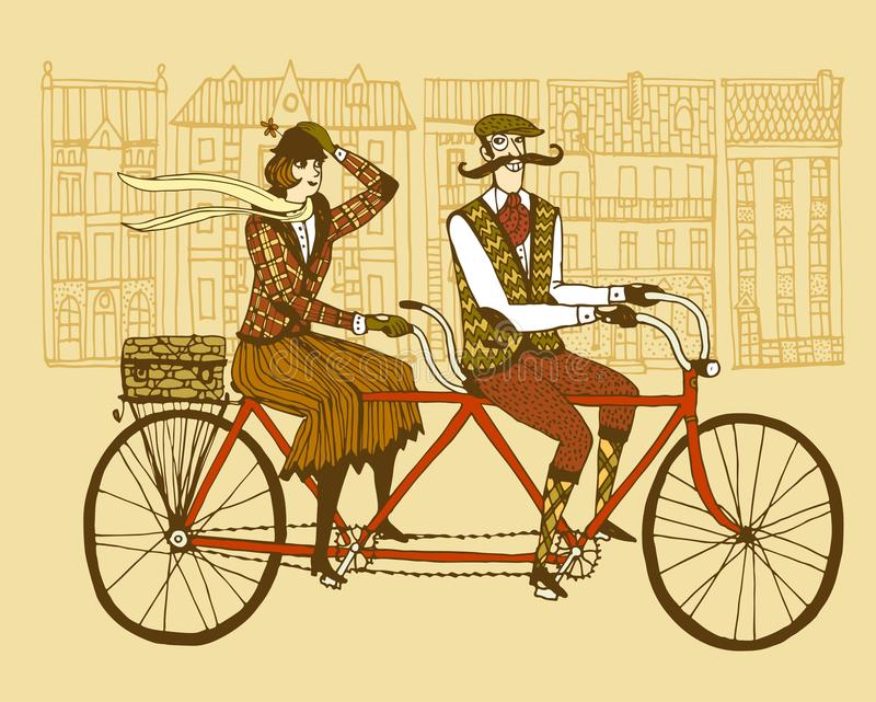 Retro tweed ride illustration. Retro hand drawn gentleman with mustaches and lady in tweed costumes on a tandem bicycle riding in old town. Illustration for royalty free illustration