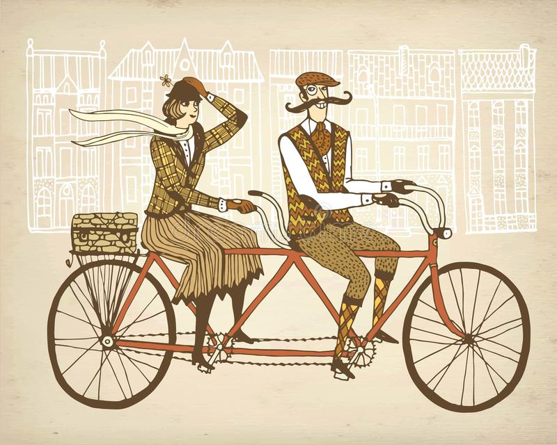 Retro tweed ride illustration. Retro hand drawn gentleman with mustaches and lady in tweed costumes on a tandem bicycle riding in old town. Old paper background royalty free illustration