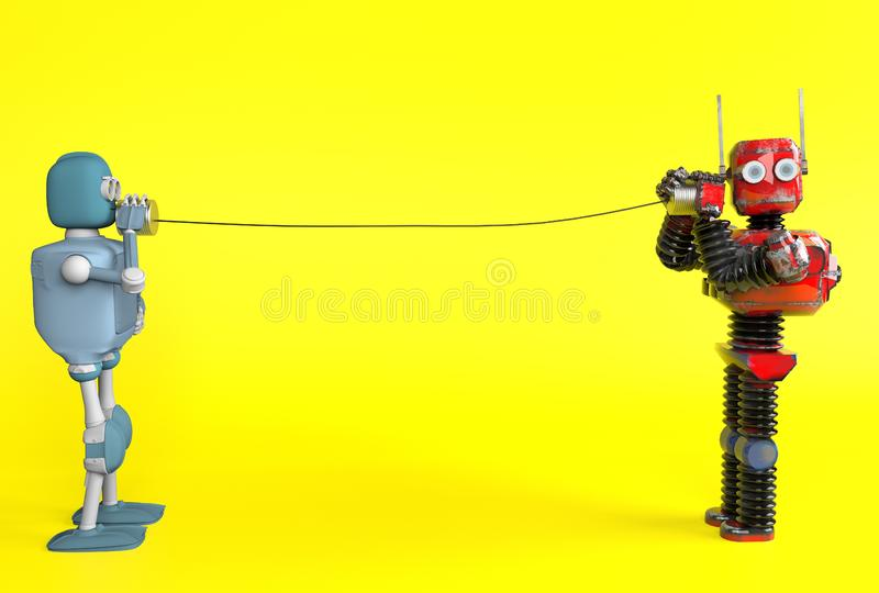 Retro two robots with tin can phones. 3d render royalty free illustration
