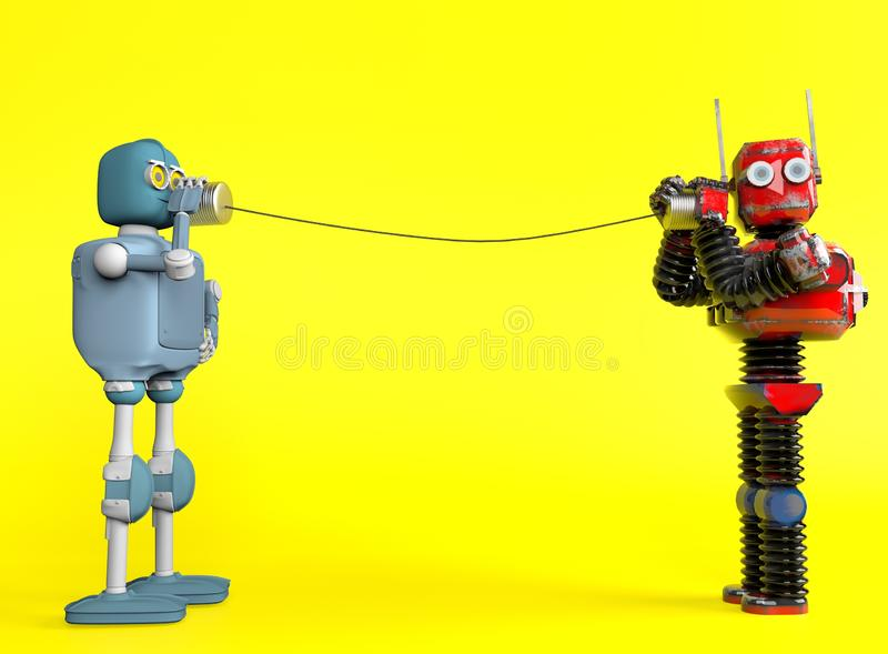Retro two robots with tin can phones. 3d render stock illustration