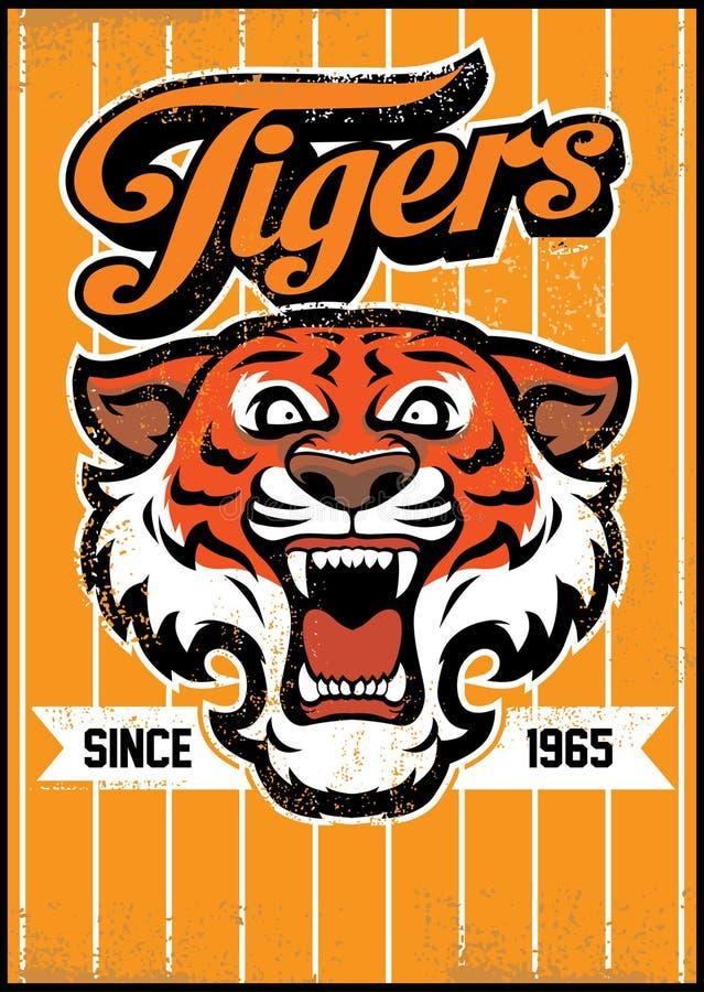 Retro tygrysi maskotka projekt royalty ilustracja