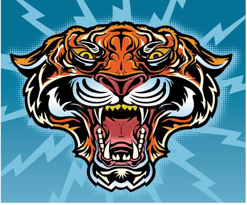 Retro Tygrysi tatuaż ilustracji
