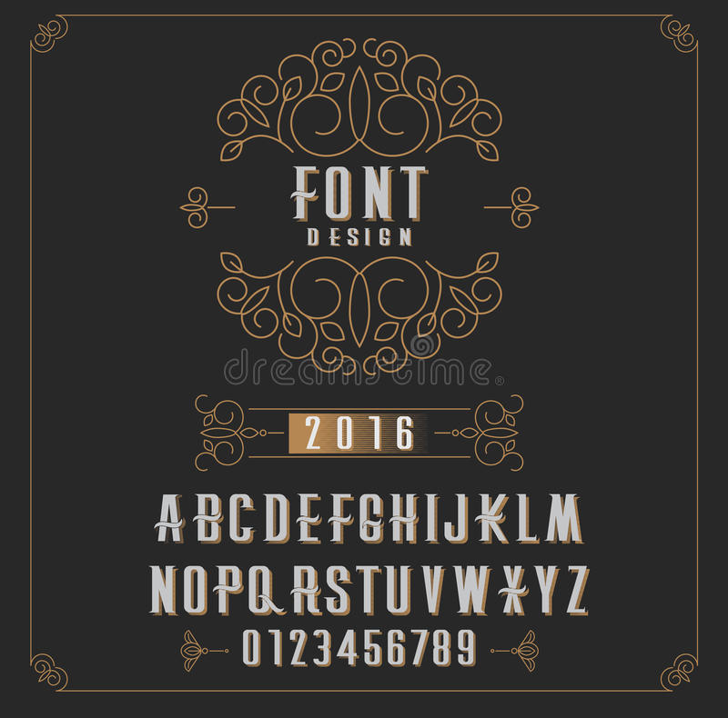 Retro type font, type letters, numbers and floral frame with copy space for text or letter - emblem for fashion, beauty and stock illustration