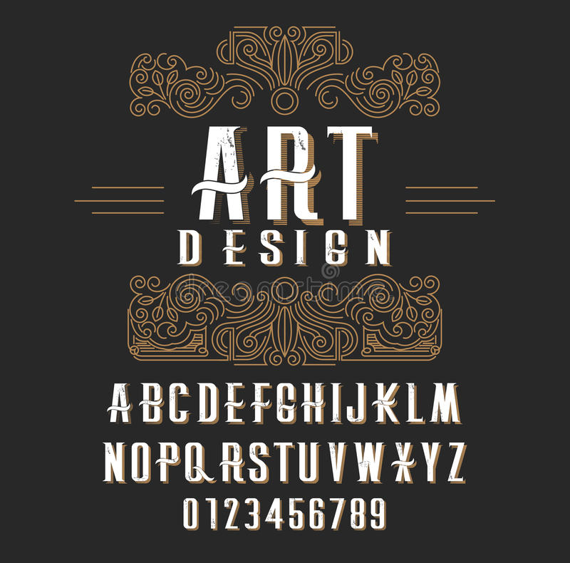 Retro type font, type letters, numbers and floral frame with copy space for text or letter vector illustration