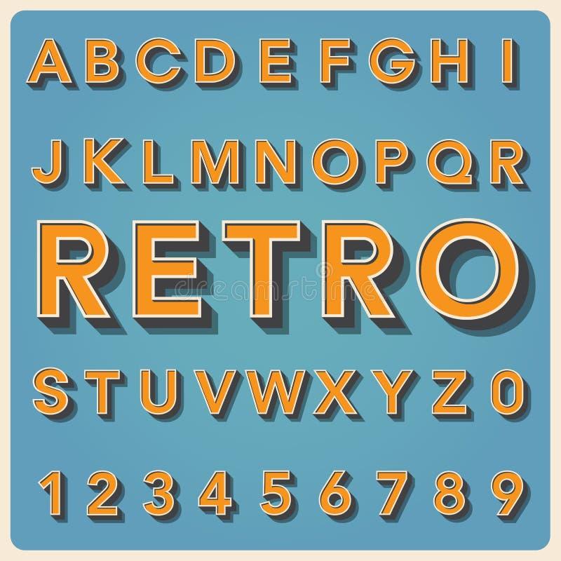 Retro type font, vintage typography . vector illustration