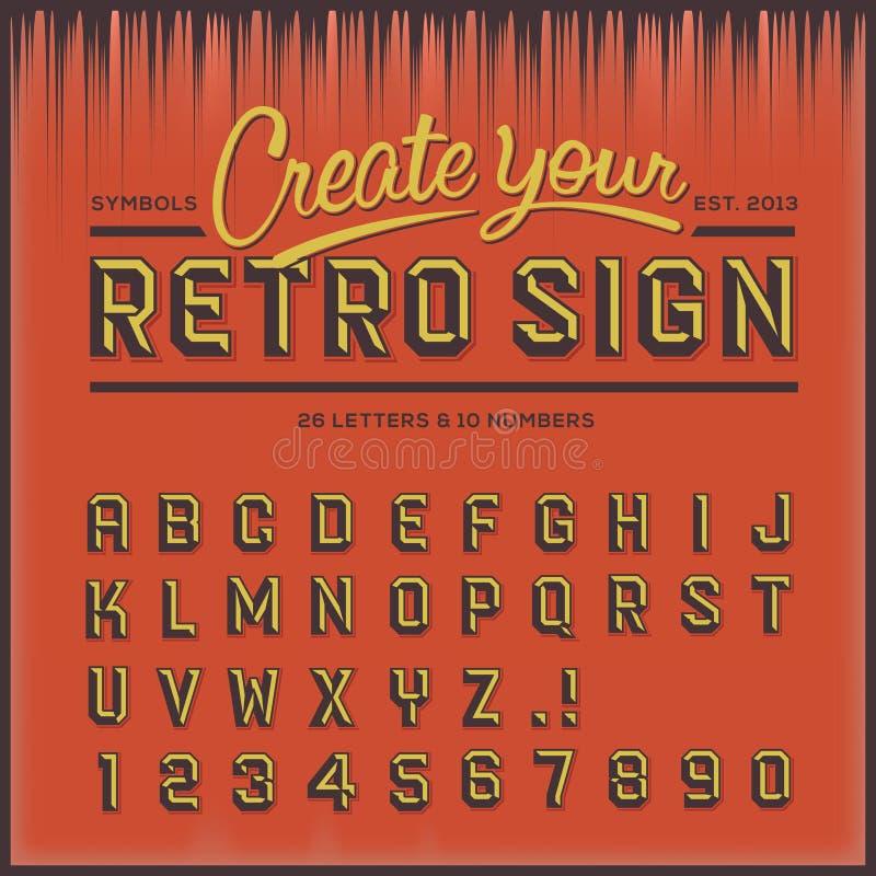 Retro type font, vintage typography vector illustration
