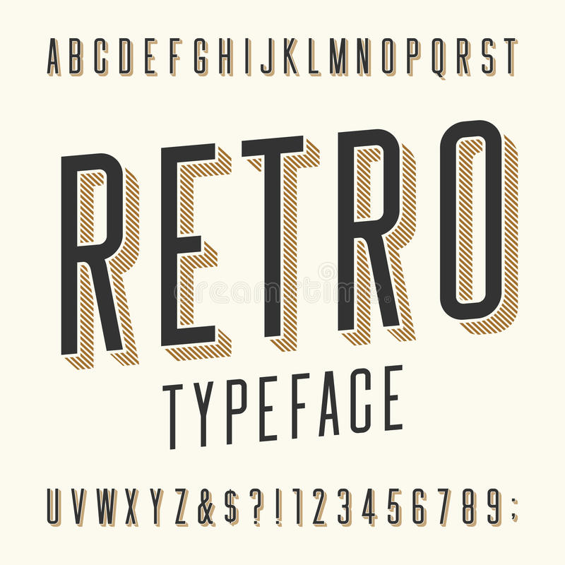 Retro Typeface Letters Numbers And Symbols Stock Vector