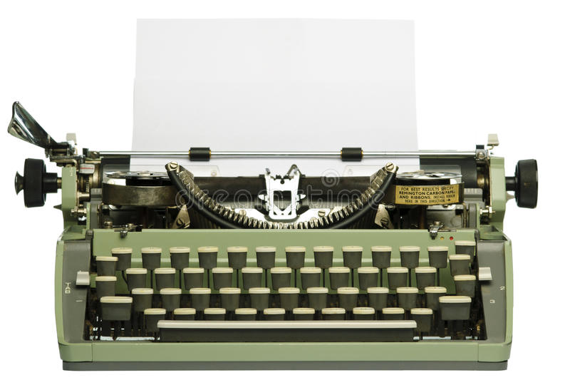 Download Retro Typewriter With Blank Paper Stock Photo - Image of object, manual: 18297414