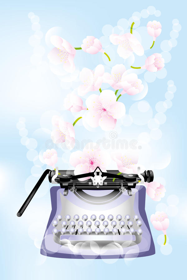 Retro typewriter with cherry blossoms. Fantasy retro typewriter with cherry blossoms on light-blue background - jpg and eps file available royalty free illustration