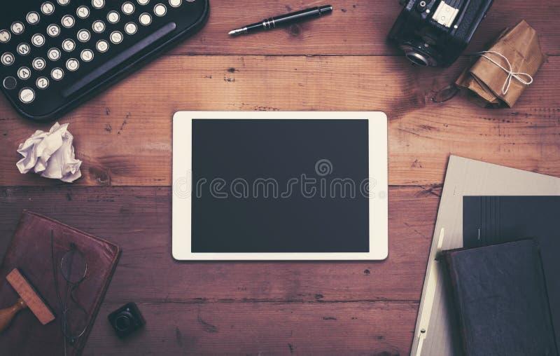 Retro typewriter desk hero header royalty free stock images