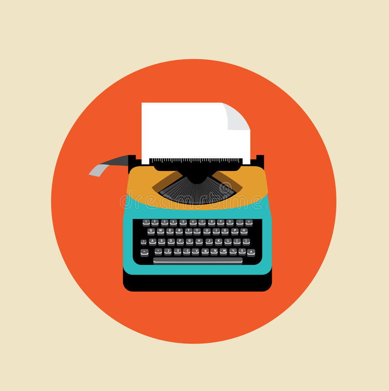 Retro typewriter with page on colored background vector illustration
