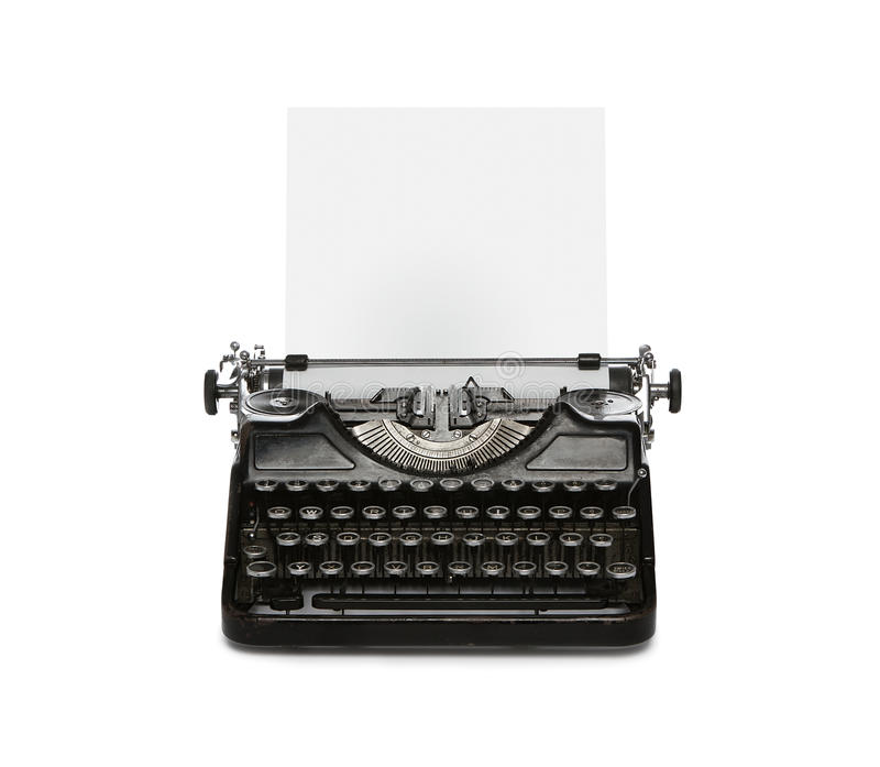 Retro typewriter with paper sheet. Retro rusty typewriter with paper sheet isolated on white background stock photos