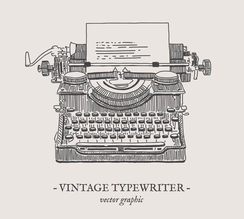 Retro typewriter vector vintage illustration. Retro typewriter vector drawing on grey background vector illustration