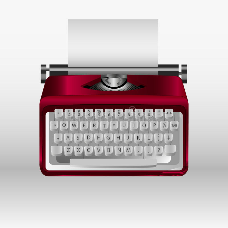 Retro typewriter with white paper sheet. Vector 3d model royalty free illustration