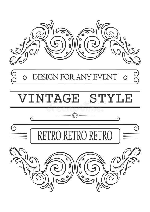 Retro typografiska designelement Mallen för designinbjudningar, affischer och annan planlägger vektor illustrationer