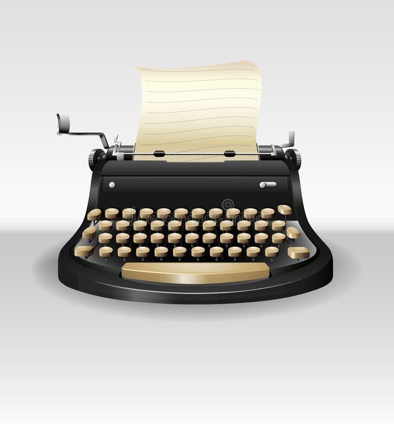 Retro typwriter nero con carta royalty illustrazione gratis
