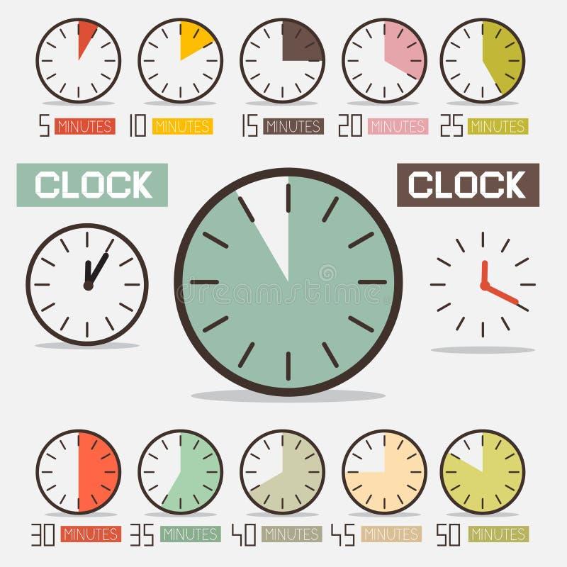 Retro- Uhr - Zeit-Count-down-Vektor-Satz lizenzfreie abbildung