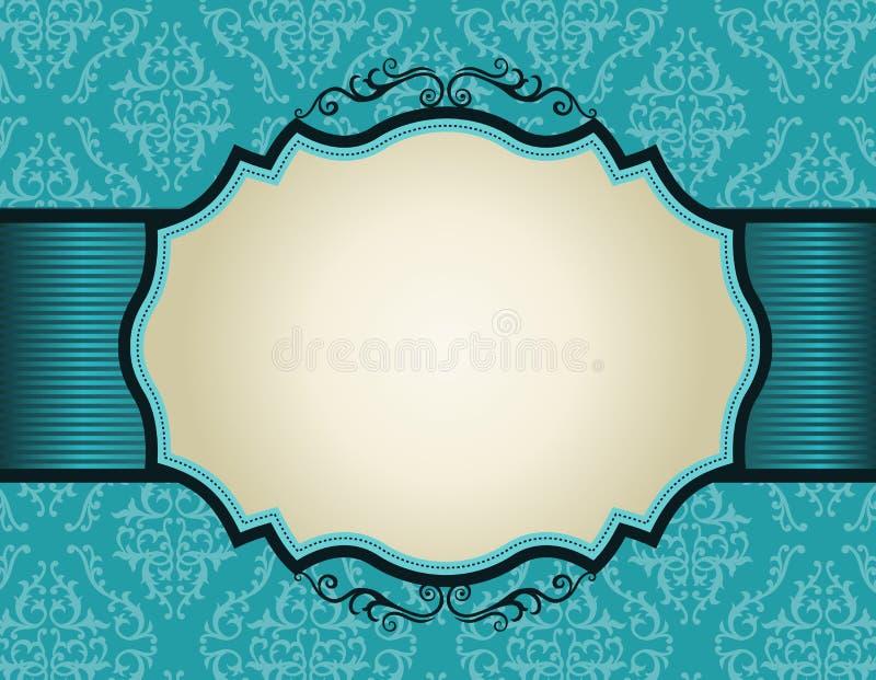 Retro uitnodigingskader op de achtergrond van het damastpatroon royalty-vrije illustratie