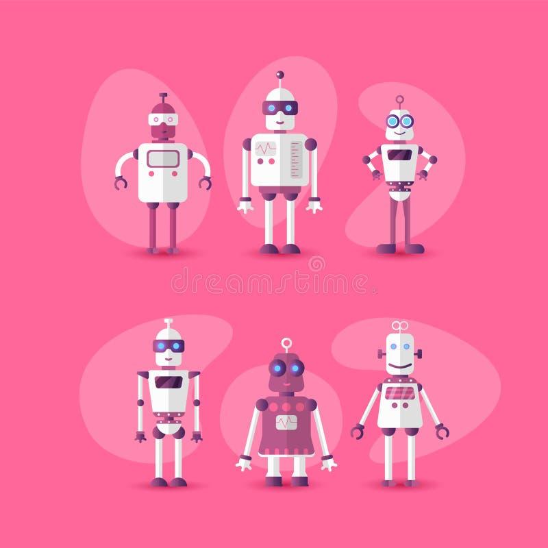 Retro uitstekend grappig vectorrobot vastgesteld pictogram in vlakke stijl die op roze achtergrond wordt ge?soleerd Pictogram van stock illustratie