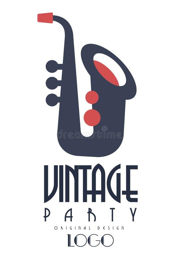 Retro uitstekend het embleemontwerp van partijoroginal, embleem met saxofoon voor affiche, banner, vlieger, kaart, brochure, uitn stock illustratie
