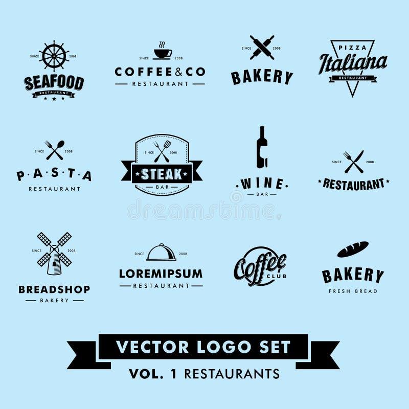 Retro Uitstekend Hipster-Restaurant Vectorlogo set royalty-vrije stock foto's