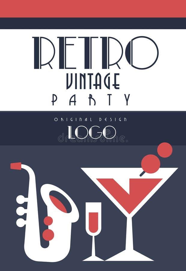 Retro uitstekend partijembleem, emnlem voor muziekpartij, ontwerpelement voor affiche, banner, vlieger, kaart, brochure, uitnodig stock illustratie