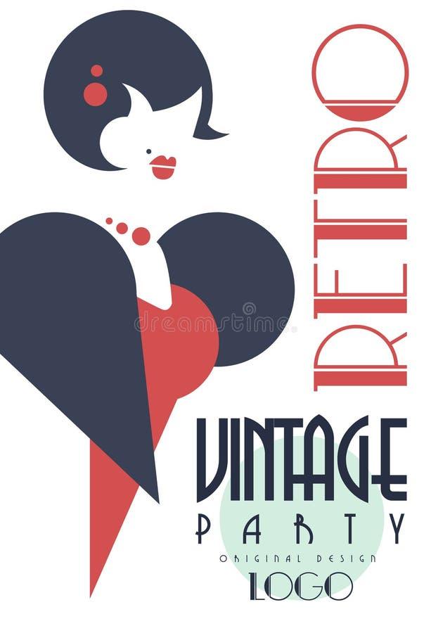 Retro uitstekend partijembleem, ontwerpelement met met slimme geklede vrouw voor affiche, banner, vlieger, kaart, brochure vector illustratie