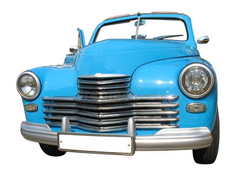 Retro uitstekende blauwe geïsoleerded auto van de droomluxe stock afbeeldingen