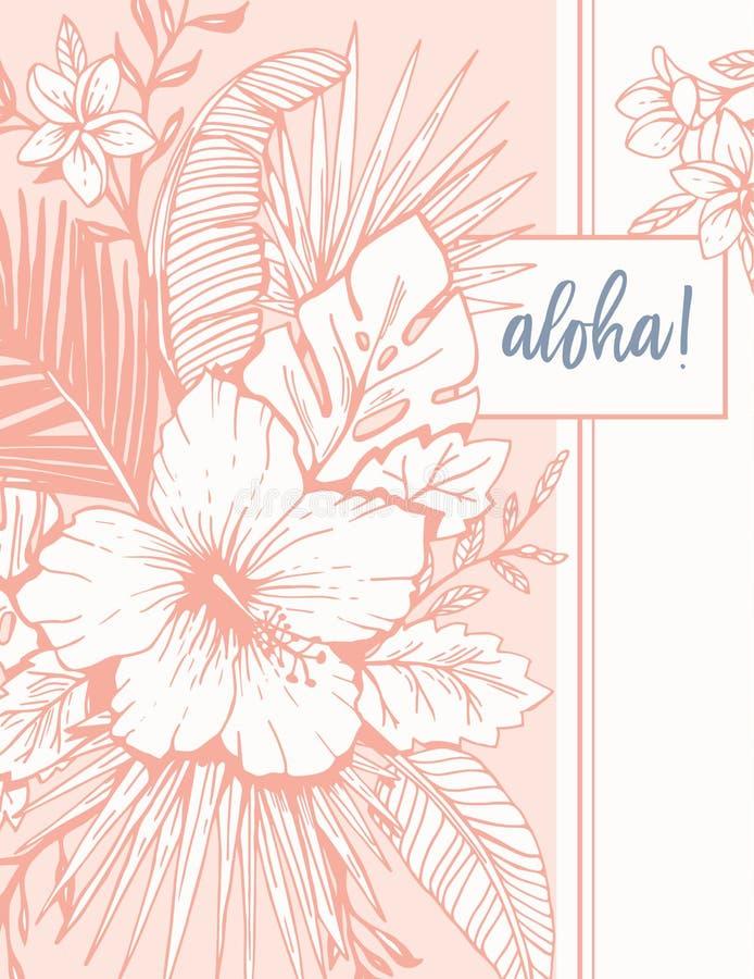 Retro Uitstekende Coral Tropical Floral Exotic Foliage en Hibiscus Aloha Greeting Card De Tekeningsachtergrond van de inktlijn vector illustratie