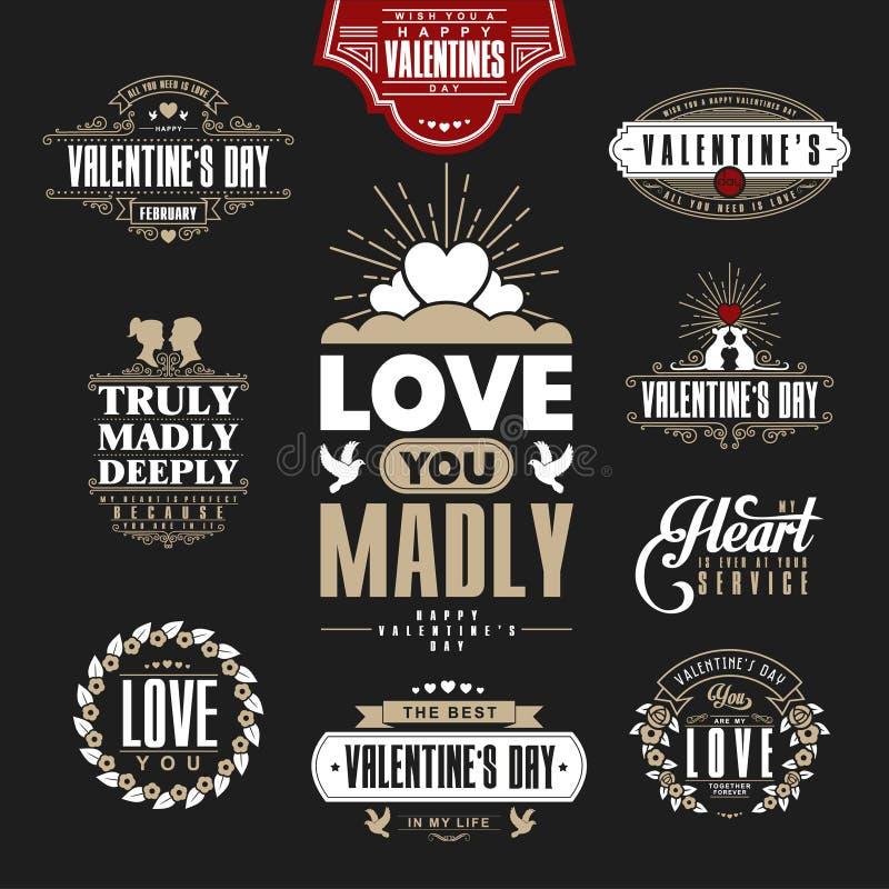 Retro Uitstekende die Insignes of Logotypes voor de dag van stValentine worden geplaatst
